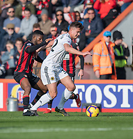 Wolverhampton Wanderers' Leander Dendoncker (right) is tackled by Bournemouth's Jefferson Lerma (left) <br /> <br /> Photographer David Horton/CameraSport<br /> <br /> The Premier League - Bournemouth v Wolverhampton Wanderers - Saturday 23 February 2019 - Vitality Stadium - Bournemouth<br /> <br /> World Copyright © 2019 CameraSport. All rights reserved. 43 Linden Ave. Countesthorpe. Leicester. England. LE8 5PG - Tel: +44 (0) 116 277 4147 - admin@camerasport.com - www.camerasport.com