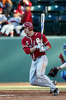 Max White #7 of the Oklahoma Sooners bats against the UCLA Bruins at Jackie Robinson Stadium on March 9, 2013 in Los Angeles, California. (Larry Goren/Four Seam Images)