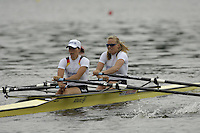 Poznan, POLAND.  2006, FISA, Rowing, World Cup, GER LW2X bow  Daniela REIMER and Marie-Louise DRAEGER, move  away from  the  start, on the Malta  Lake. Regatta Course, Poznan, Thurs. 15.05.2006. © Peter Spurrier   .[Mandatory Credit Peter Spurrier/ Intersport Images] Rowing Course:Malta Rowing Course, Poznan, POLAND