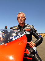 Jul. 17, 2010; Sonoma, CA, USA; NHRA pro stock motorcycle rider Craig Treble during qualifying for the Fram Autolite Nationals at Infineon Raceway. Mandatory Credit: Mark J. Rebilas-
