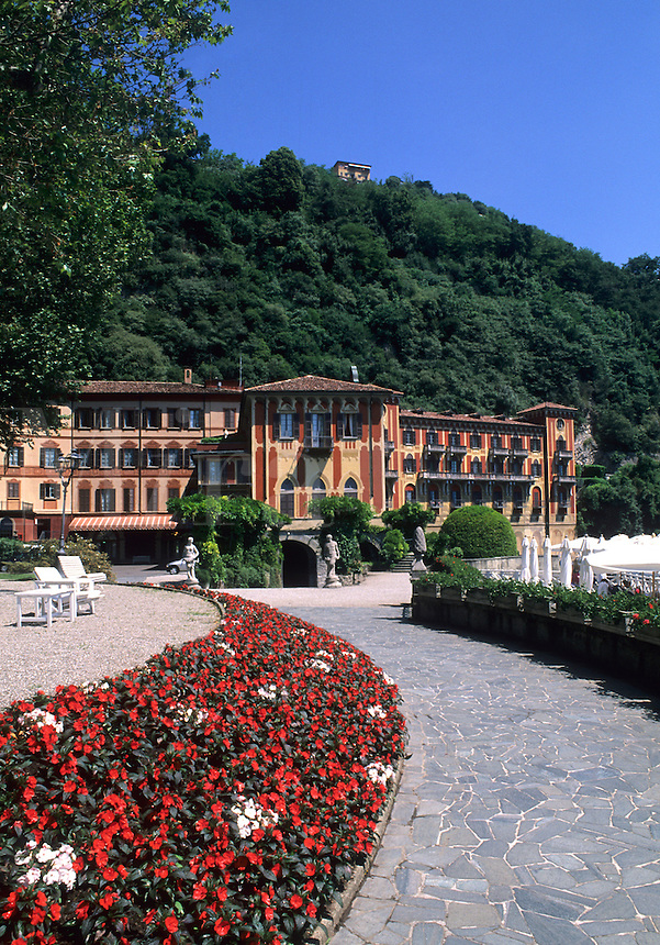 Beautiful Lake Como area of Northern Italy view of world famous exclusive resort of Villa d'Este in Cemobbio on lak