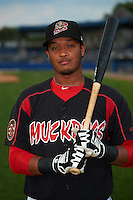 Batavia Muckdogs first baseman Erwin Almonte (25) poses for a photo before a game against the Auburn Doubledays on September 5, 2015 at Dwyer Stadium in Batavia, New York.  Batavia defeated Auburn 6-3.  (Mike Janes/Four Seam Images)