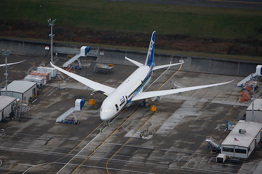 EVERETT WA PAINE FIELD SATURDAY NOV. 27 2010 Boeing 787's sit on the tarmac at Boeing's Everett. Photo by Kevin P. Casey/Bloomberg News