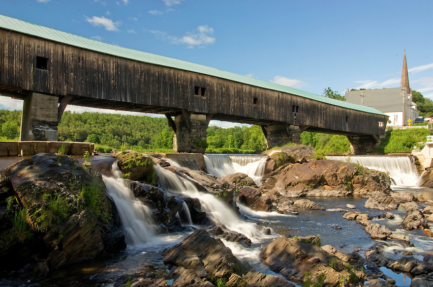 The Bath Covered Bridge spans the Connecticut River in Northern New Hampshire.