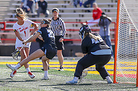 College Park, MD - April 27, 2019: Maryland Terrapins attack Brindi Griffin (1) attempts a shot during the game between John Hopkins and Maryland at  Capital One Field at Maryland Stadium in College Park, MD.  (Photo by Elliott Brown/Media Images International)