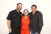 Arnaldo Pipke and Adriana Barraza with writer/directo Jose Eduardo Pardo after the theatrical production of Tres Pestañeos at CCEM in Miami, Florida. June 7, 2012. © Majo Grossi/MediaPunch Inc. NORTEPHOTO.COM