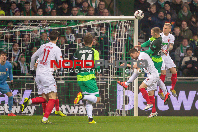 10.02.2019, Weser Stadion, Bremen, GER, 1.FBL, Werder Bremen vs FC Augsburg, <br /> <br /> DFL REGULATIONS PROHIBIT ANY USE OF PHOTOGRAPHS AS IMAGE SEQUENCES AND/OR QUASI-VIDEO.<br /> <br />  im Bild<br /> Johannes Eggestein (Werder Bremen #24)<br /> Michael Gregoritsch (FC Augsburg #11)<br /> Philipp Bargfrede (Werder Bremen #44)<br /> <br /> <br /> Foto &copy; nordphoto / Kokenge
