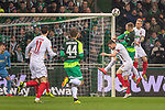 10.02.2019, Weser Stadion, Bremen, GER, 1.FBL, Werder Bremen vs FC Augsburg, <br /> <br /> DFL REGULATIONS PROHIBIT ANY USE OF PHOTOGRAPHS AS IMAGE SEQUENCES AND/OR QUASI-VIDEO.<br /> <br />  im Bild<br /> Johannes Eggestein (Werder Bremen #24)<br /> Michael Gregoritsch (FC Augsburg #11)<br /> Philipp Bargfrede (Werder Bremen #44)<br /> <br /> <br /> Foto © nordphoto / Kokenge