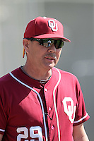 Oklahoma Sooners Head Coach Sunny Golloway (29) before a game against the Pepperdine Waves at Eddy D. Field Stadium on February 18, 2012 in Malibu,California. Pepperdine defeated Oklahoma 10-0.(Larry Goren/Four Seam Images)