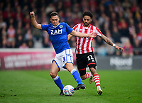 Macclesfield Town's David Fitzpatrick under pressure from Lincoln City's Bruno Andrade<br /> <br /> Photographer Chris Vaughan/CameraSport<br /> <br /> The EFL Sky Bet League Two - Lincoln City v Macclesfield Town - Saturday 30th March 2019 - Sincil Bank - Lincoln<br /> <br /> World Copyright © 2019 CameraSport. All rights reserved. 43 Linden Ave. Countesthorpe. Leicester. England. LE8 5PG - Tel: +44 (0) 116 277 4147 - admin@camerasport.com - www.camerasport.com