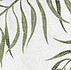 Palm, a natural stone hand cut mosaic, is shown in Thassos and Chartreuse (p).