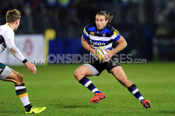 Max Clark of Bath Rugby in possession. Aviva Premiership match, between Bath Rugby and Northampton Saints on February 10, 2017 at the Recreation Ground in Bath, England. Photo by: Patrick Khachfe / Onside Images