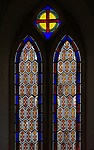 Stained glass window in church of  Saint Andrew, Rollestone, Wiltshire, England, UK