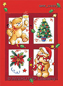 Stephen, CHRISTMAS ANIMALS, paintings, 2 bears, tree, pointsettia(GBUK12400/2,#XA#)