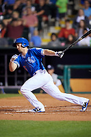 Oklahoma City Dodgers shortstop Charlie Culberson (6) follows through on a swing during a game against the Colorado Springs Sky Sox on June 2, 2017 at Chickasaw Bricktown Ballpark in Oklahoma City, Oklahoma.  Colorado Springs defeated Oklahoma City 1-0 in ten innings.  (Mike Janes/Four Seam Images)