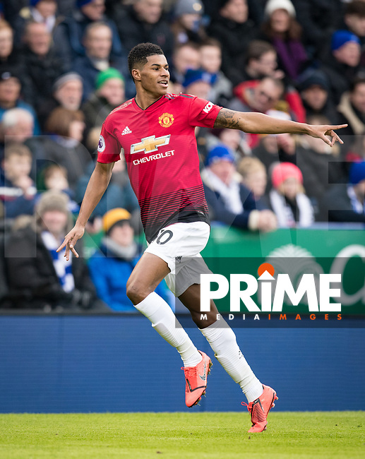 Marcus Rashford of Man Utd celebrates his goal during the Premier League match between Leicester City and Manchester United at the King Power Stadium, Leicester, England on 3 February 2019. Photo by Andy Rowland.