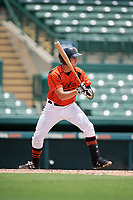 GCL Orioles catcher Alfredo Gonzalez (34) grounds out on a checked swing during a game against the GCL Rays on July 21, 2017 at Ed Smith Stadium in Sarasota, Florida.  GCL Orioles defeated the GCL Rays 9-0.  (Mike Janes/Four Seam Images)
