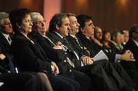 Jubiläumsgala 20 JAHRE FUSSBALL EINHEIT - Congresscenter Leipzig - DFB  - im Bild: DFB Präsident Dr. Theo Zwanziger neben Michel Platini .Foto: Norman Rembarz .
