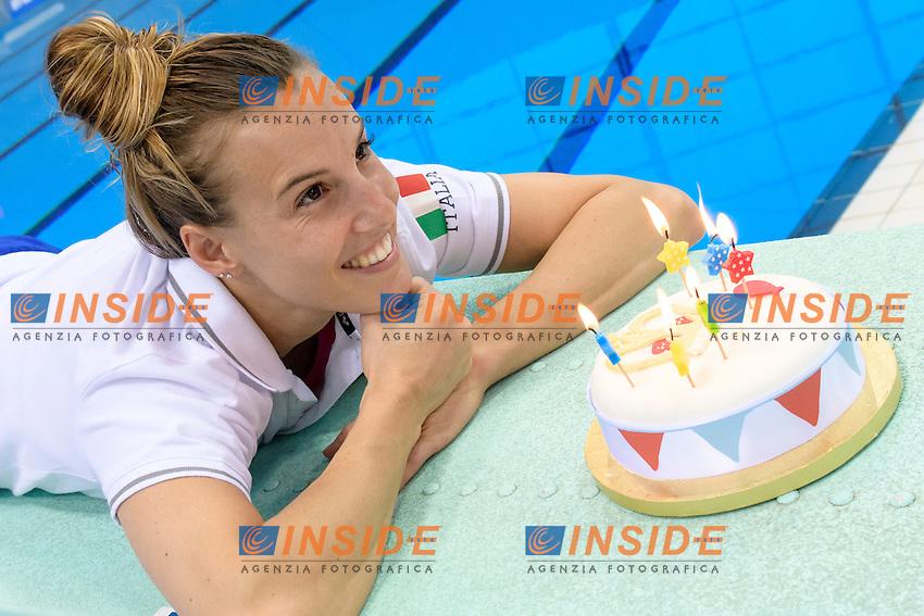 Tania CAGNOTTO of Italy celebrates her 31st birthday on the pool deck . Tania CAGNOTTO festeggia il suo 31mo compleanno in piscina  <br /> Women's 3m Synchronized Springboard<br /> London, Queen Elizabeth II Olympic Park Pool <br /> LEN 2016 European Aquatics Elite Championships <br /> Diving  <br /> Day 07 15-05-2016<br /> Photo Andrea Staccioli/Deepbluemedia/Insidefoto