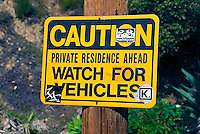 Caution, Watch for Vehicles, Sign, Los Angeles, CA, Runyon Canyon