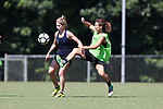 CARY, NC - JULY 20: McCall Zerboni (left) and Elizabeth Eddy (right). The North Carolina Courage held a training session on July 20, 2017, at WakeMed Soccer Park Field 3 in Cary, NC.