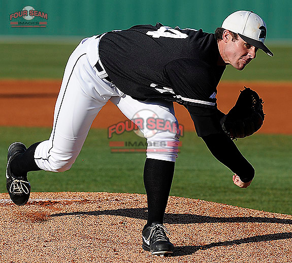 Pitcher Ben Augenstein (44) of the University of South Carolina Upstate Spartans in a game against the Wofford Terriers on Wednesday, March 27, 2013, at Cleveland S. Harley Park in Spartanburg, South Carolina. Wofford won, 12-11.(Tom Priddy/Four Seam Images)