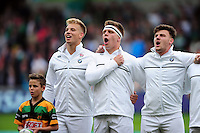 England players sing their national anthem prior to the match. World Rugby U20 Championship Final between England U20 and Ireland U20 on June 25, 2016 at the AJ Bell Stadium in Manchester, England. Photo by: Patrick Khachfe / Onside Images