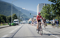 Tony Gallopin (FRA/Lotto-Soudal) to the start<br /> <br /> 69th Crit&eacute;rium du Dauphin&eacute; 2017<br /> Stage 8: Albertville &gt; Plateau de Solaison (115km)