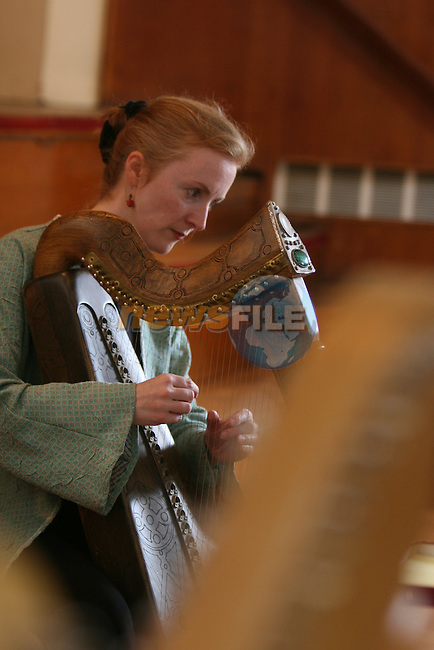 NO REPO FEE.The Cairde na Cruite annual Harp Festival, An Chúirt Chruitireachta will take place from 29 June to 4 July 2008 at An Grianán, Termonfeckin, Co. Louth. ..This residential harp festival has been running for 23 years and we are looking forward to yet another world class event in 2008. The festival is a celebration of the Irish Harp and the harping tradition in Ireland.  It also provides links with other harping traditions, specifically the Breton tradition in 2008. ..The festival consists of tuition sessions for the harpers with internationally renowned harpers including Maire Ni Chathasaigh, and a Sean Nós singer-in-residence Seosaimhín Ní Bheaglaoich, The event also features a series of evening concerts featuring musicians / ensembles including amongst others: Siobhán Armstrong, Liadán, Dordán, Cormac de Barra, Noel Hill and Seosaimhín Ní Bheaglaoich...The opening concert on 29th June will take place in Beaulieu House, Termonfeckin, Co. Louth. All other concerts will be held in An Grianán, Arts Centre, Termonfeckin, Co. Louth. ..Workshops for 2008 explore the potential of the Irish harp and its role in instrumental and singing traditions of Ireland, Brittany, Denmark and Wales with workshop leaders:.?.Máire Ní Chathasaigh ( Ireland).?.Anne Postic (Brittany).?.Helen Davies and Poul Hoexbro ( Denmark).?.Cormac Cannon and Brian McNamara ( Uilleann Pipes, Ireland ) and .?.Sean-nós singer, Seosaimhín Ní Bheaglaoich (Ireland)..Photo: Newsfile/Fran Caffrey..NO REPO FEE