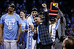 North Carolina Tar Heels head coach Roy Williams celebrates after they defeated the Kentucky Wildcats during the 2017 NCAA Men's Basketball Tournament South Regional Elite 8 at FedExForum in Memphis, TN on Friday March 24, 2017. Photo by Michael Reaves | Staff