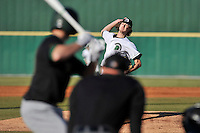 Starting pitcher Blake Whitney (14) of the University of South Carolina Upstate Spartans delivers a pitch in a game against the George Mason Patriots on Friday, February 19, 2016, at Cleveland S. Harley Park in Spartanburg, South Carolina. (Tom Priddy/Four Seam Images)