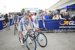 Southeast team riders head to sign on before the start of the 2015 96th Milan-Turin 186km race starting at San Giuliano Milanese, Italy. 1st October 2015.<br /> Picture: Eoin Clarke | Newsfile