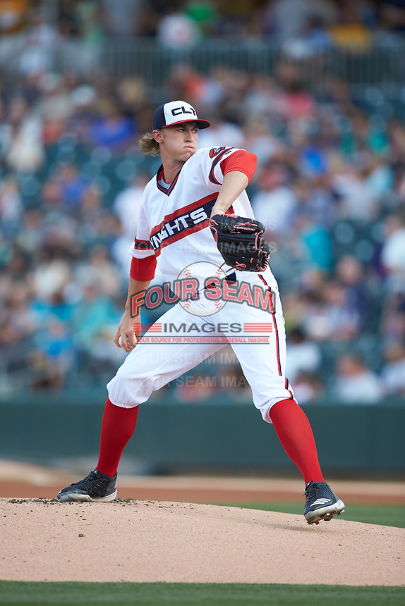 Charlotte Knights starting pitcher Michael Kopech (34) in action against the Scranton/Wilkes-Barre RailRiders at BB&T BallPark on April 14, 2018 in Charlotte, North Carolina.  The RailRiders defeated the Knights 10-5.  (Brian Westerholt/Four Seam Images)