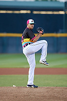 Erie Piñatas pitcher Jose Manuel Fernandez (3) during an Eastern League game against the Las Ardillas Voladoras de Richmond on August 28, 2019 at UPMC Park in Erie, Pennsylvania.  Richmond defeated Erie 4-3 in the second game of a doubleheader.  (Mike Janes/Four Seam Images)