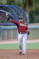 Eudy Ramos (22) of the AZL Diamondbacks makes a throw during a game against the AZL Dodgers at the Los Angeles Dodgers Spring Training Complex on July 3, 2015 in Glendale, Arizona. Diamondbacks defeated the Dodgers, 5-1. (Larry Goren/Four Seam Images)