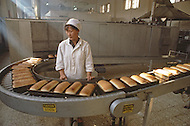 October 1984. Near Beijing, the modern bakery factory of Yili, produces bread, sweets and waffles.