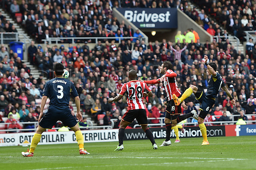 02.05.2015.  Sunderland, England. Barclays Premier League. Sunderland versus Southampton. Danny Graham of Sunderland fouled in the box by Jose Fonte of Southampton.  Penalty to Sunderland