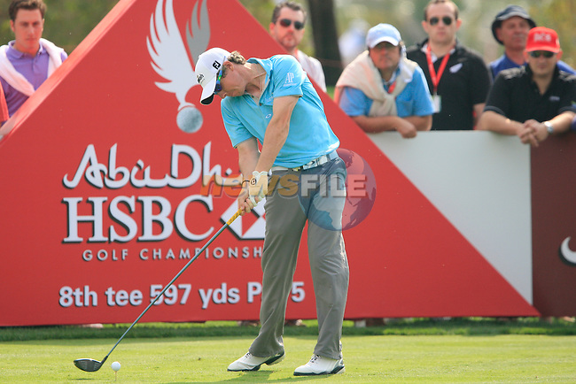 Rory McIlroy tees off on the 8th tee during Day 3 Saturday of the Abu Dhabi HSBC Golf Championship, 22nd January 2011..(Picture Eoin Clarke/www.golffile.ie)