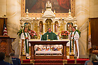 August 13, 2017; University of Notre Dame President Rev. John I. Jenkins, C.S.C., celebrates mass at the Basilica of St. Francis Xavier where the ND Trail begins in Vincennes, Indiana.  <br /> <br /> As part of the University&rsquo;s 175th anniversary celebration, the Notre Dame Trail will commemorate Father Sorin and the Holy Cross Brothers&rsquo; journey. A small group of pilgrims will make the entire 300+ mile journey from Vincennes to Notre Dame over  two weeks.  (Photo by Barbara Johnston/University of Notre Dame)