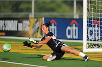 Chicago Red Stars goalkeeper Jillian Loyden (1) fields a ball during warm ups. The Philadelphia Independence defeated the Chicago Red Stars 3-0 during a Women's Professional Soccer (WPS) match at John A. Farrell Stadium in West Chester, PA, on July 28, 2010.