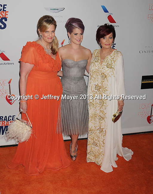 CENTURY CITY, CA- MAY 03: Host Nancy Davis, Kelly Osbourne and Sharon Osbourne arrive at the 20th Annual Race To Erase MS Gala 'Love To Erase MS' at the Hyatt Regency Century Plaza on May 3, 2013 in Century City, California.