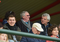 20190406  - Tubize , BELGIUM : President of the Belgian Football Association Gerard Linard (with glasses)pictured during the soccer match between the women under 19 teams of Belgium and Finland , on the second matchday in group 2 of the UEFA Women Under19 Elite rounds in Tubize , Belgium. Saturday 6 th April 2019 . PHOTO DIRK VUYLSTEKE / Sportpix.be