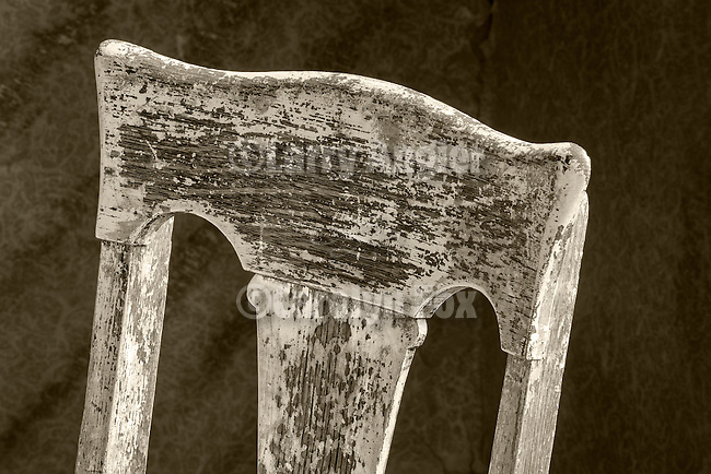 Chair detail, Inside of the Miller house, the ghost town of Bodie, California, State Historic Park.