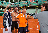 Austria, Kitzbühel, Juli 19, 2015, Tennis,  Davis Cup, The Dutch team celebrates<br /> Photo: Tennisimages/Henk Koster