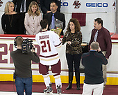 Kerry Fitzgerald, Diane Cangelosi, Andy Cangelosi, Matthew Gaudreau (BC - 21), Jane Gaudreau, Guy Gaudreau - The visiting University of Vermont Catamounts tied the Boston College Eagles 2-2 on Saturday, February 18, 2017, Boston College's senior night at Kelley Rink in Conte Forum in Chestnut Hill, Massachusetts.Vermont and BC tied 2-2 on Saturday, February 18, 2017, Boston College's senior night at Kelley Rink in Conte Forum in Chestnut Hill, Massachusetts.