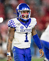 ATHENS, GA - OCTOBER 19: Lynn Bowden Jr. #1 of the Kentucky Wildcats after a play in the second half of a game against the Georgia Bulldogs during a game between University of Kentucky Wildcats and University of Georgia Bulldogs at Sanford Stadium on October 19, 2019 in Athens, Georgia.