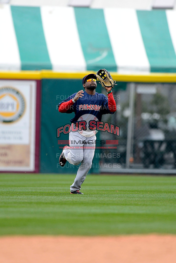 Pawtucket Red Sox outfielder Jackie Bradley Jr #19 catches a fly ball during the second game of a doubleheader against the Buffalo Bisons on April 25, 2013 at Coca-Cola Field in Buffalo, New York.  Buffalo defeated Pawtucket 4-0.  (Mike Janes/Four Seam Images)