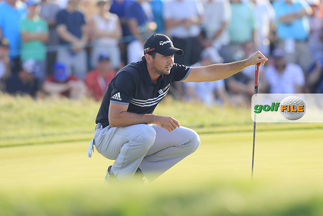 Jason DAY (AUS) lines up his putt on the 15th green during Sunday's Final Round of the 97th US PGA Championship 2015 held at Whistling Straits, Mosel, Kohler, Wisconsin, United States of America. 16/08/2015.<br /> Picture Eoin Clarke, www.golffile.ie