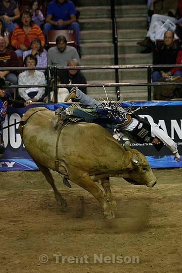West Valley City - Colby Yates (of Fort Worth, TX) took a hard fall off the bull High Waters. Professional Bull Riders (PBR) Saturday night at the E Center.