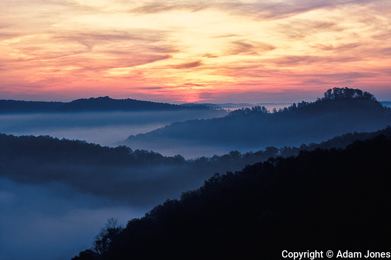 Red River Gorge Geological Area at sunrise, from Auxier Ridge, Daniel Boone National Forest, Kentucky
